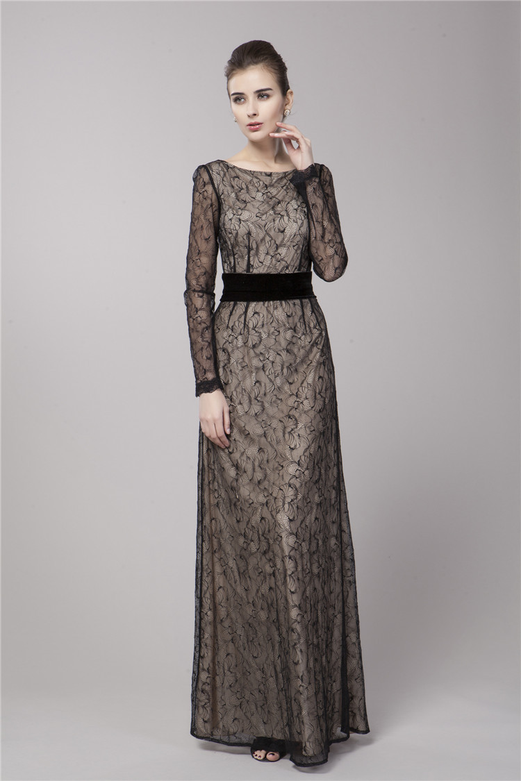 Gwyneth Paltrow Inspired Black Lace Long Sleeve Formal Evening ...