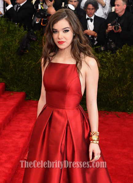 Hailee Steinfeld Red Satin Backless Formal Evening Dresses