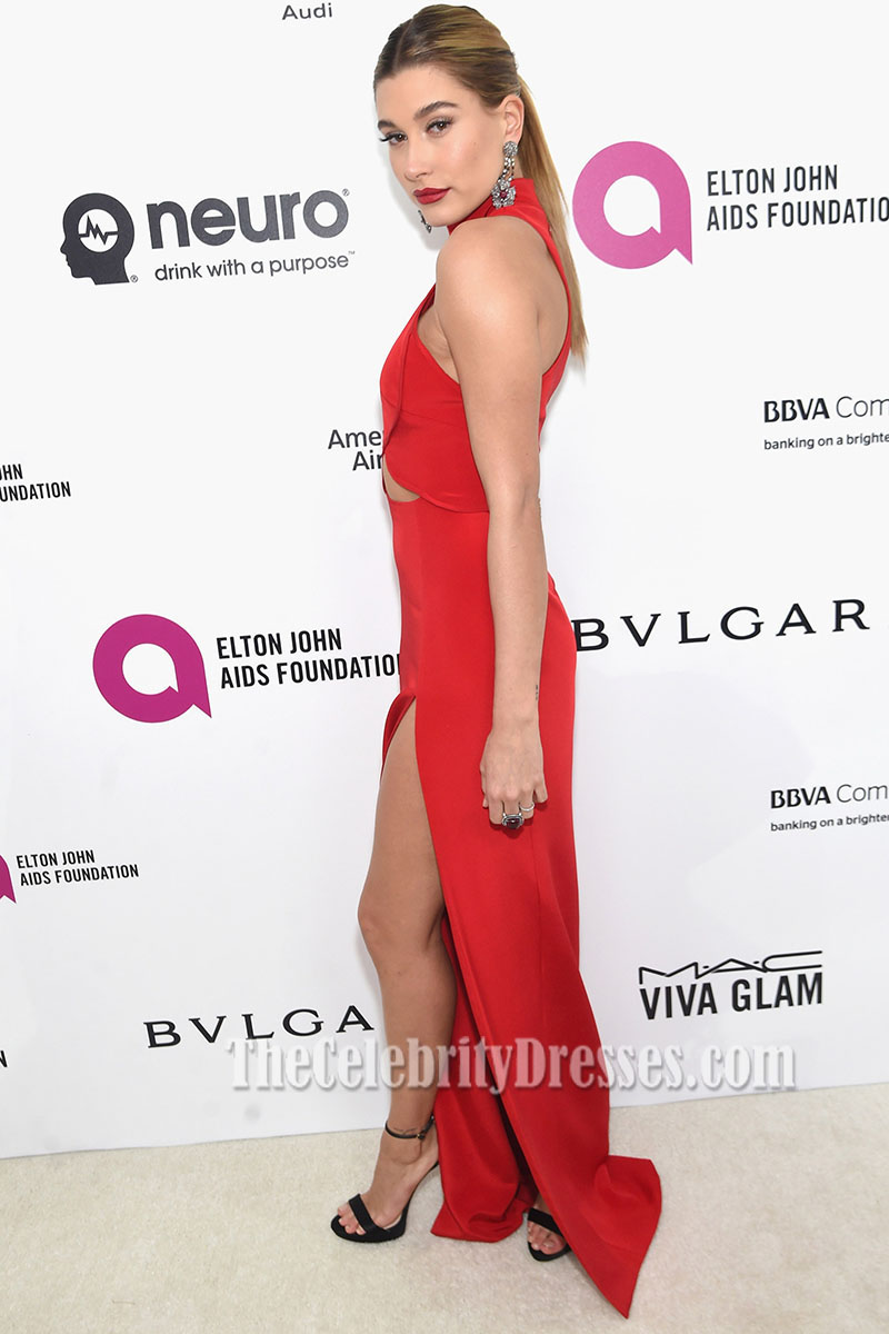 Hailey Baldwin 2016 Oscar Viewing Party Red Evening Dress High ...
