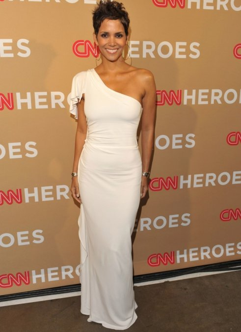 Halle Berry White One Shoulder Prom Gown Evening Dresses ...