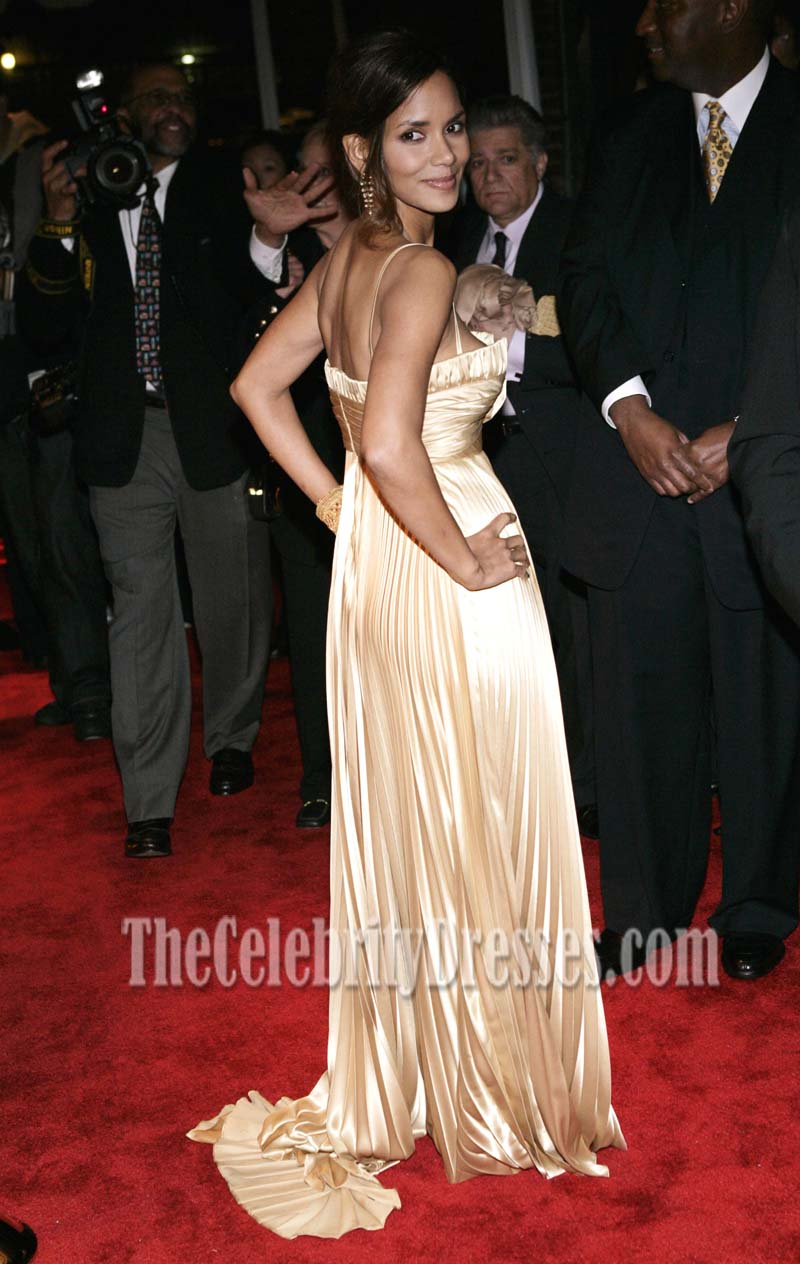Halle Berry Classic Gold Pleated Evening Dress Ebony pre-Oscar party ...