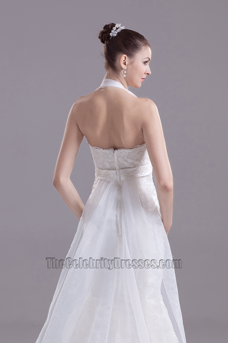 Halter a line organza embroidery mermaid wedding dress for Mermaid halter wedding dresses
