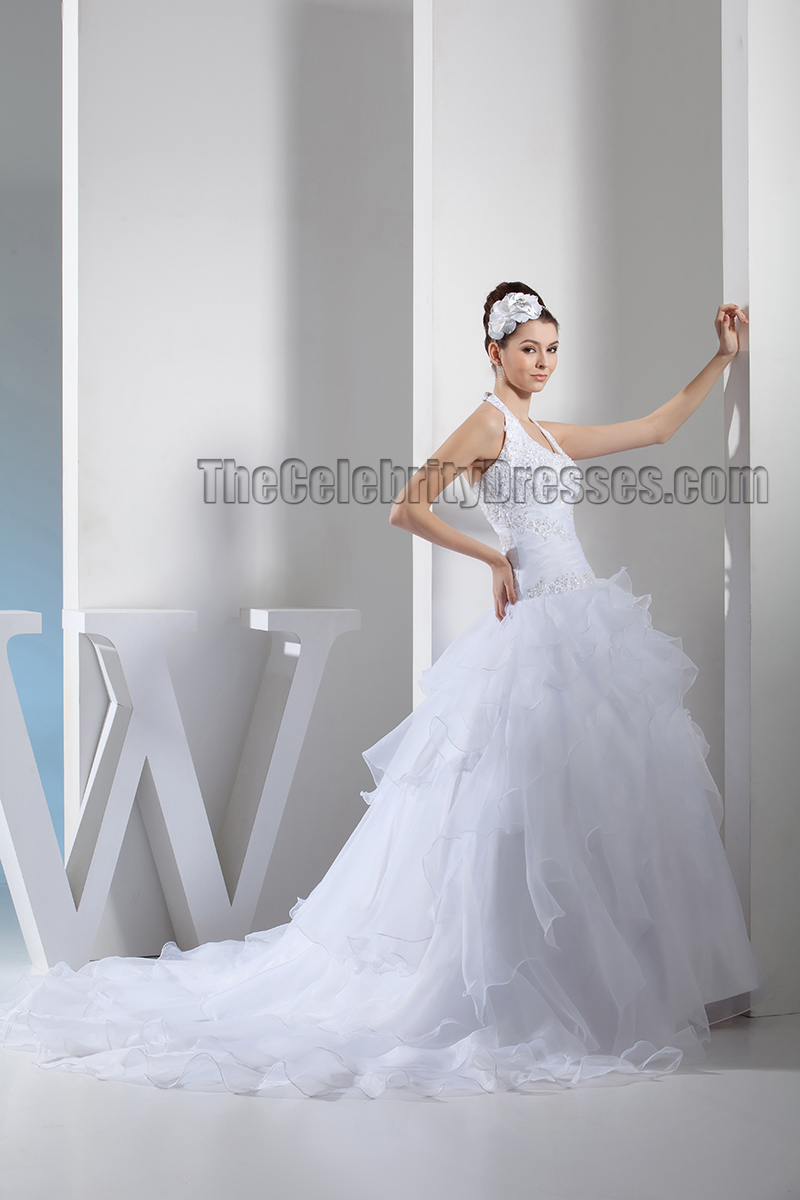 Halter ball gown embroidered chapel train wedding dresses for Halter ball gown wedding dresses