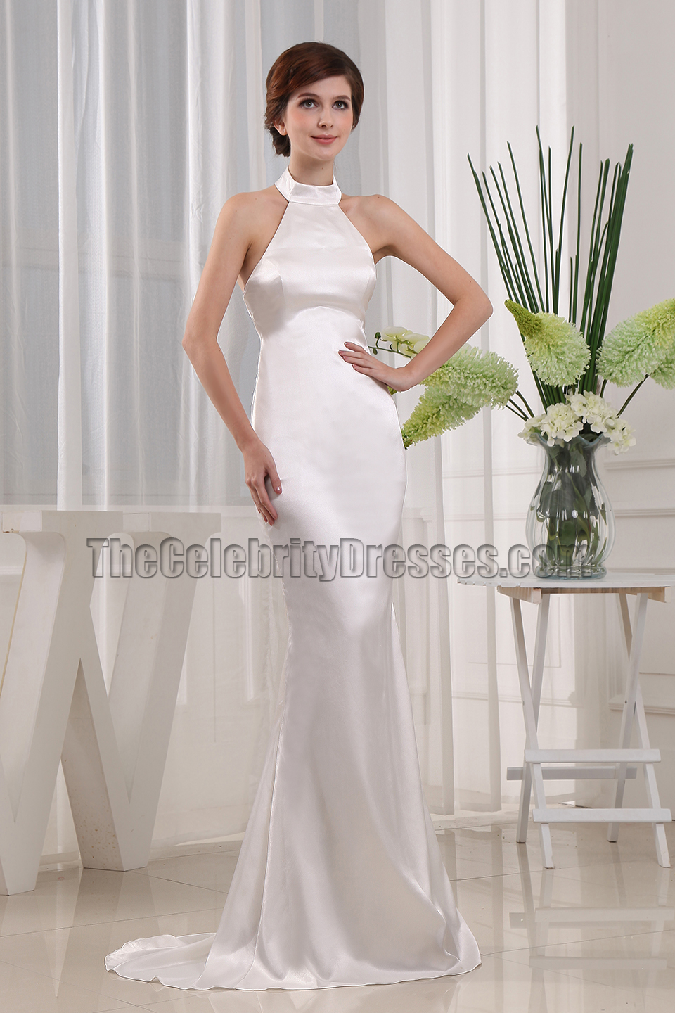 Simple Mermaid Halter Wedding Dress Bridal Gown Thecelebritydresses