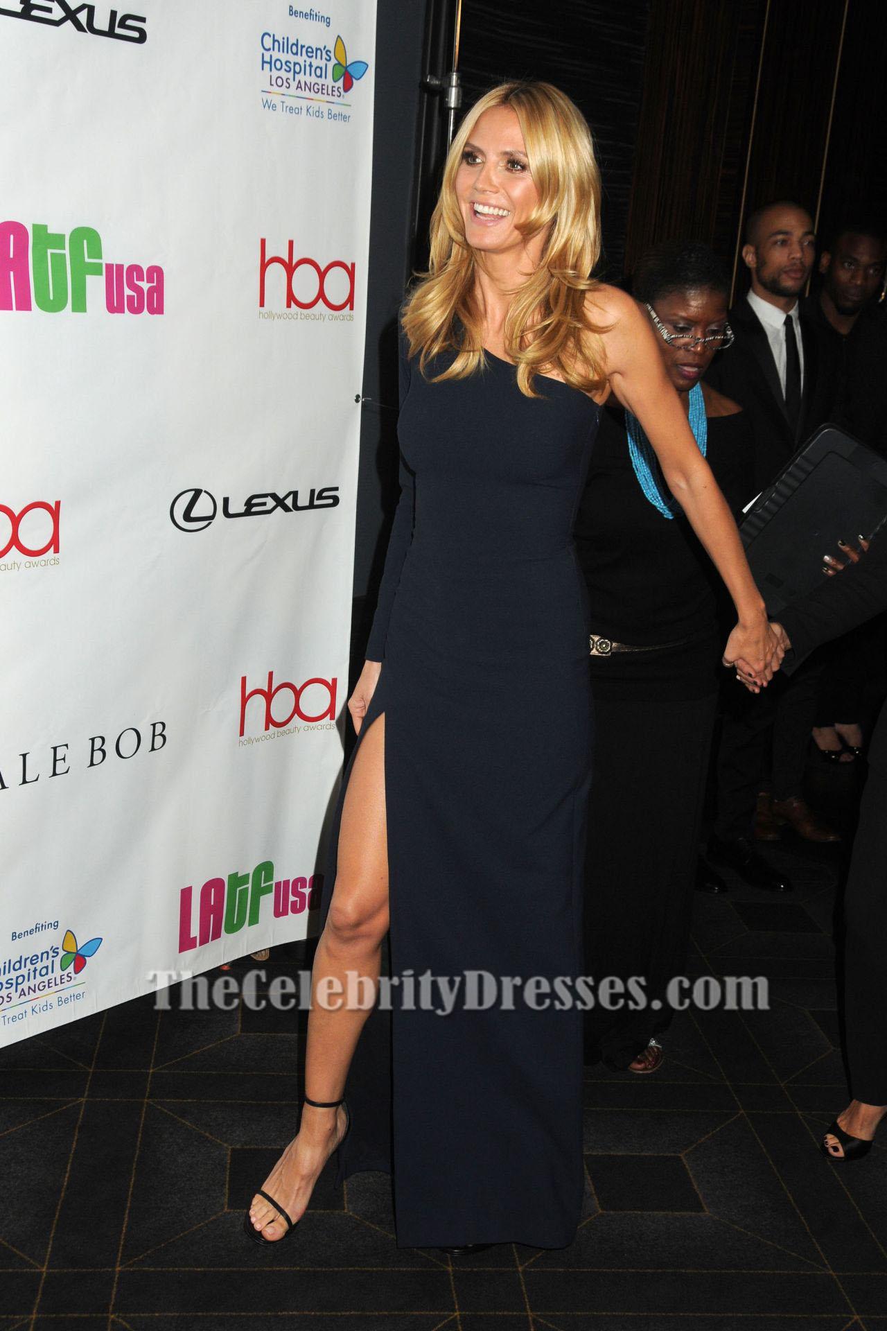 Black dress hollywood - Heidi Klum Black One Sleeve Evening Dress 2016 Hollywood Beauty Awards Thecelebritydresses