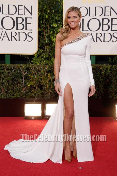 Heidi klum white prom dress 2013 golden globe awards red carpet thecelebritydresses - Designer dresses red carpet ...