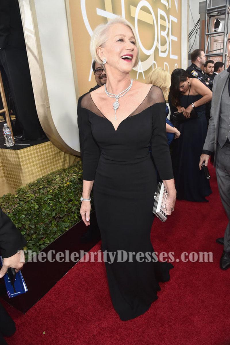 Helen Mirren 2016 Golden Globes Red Carpet Black Evening