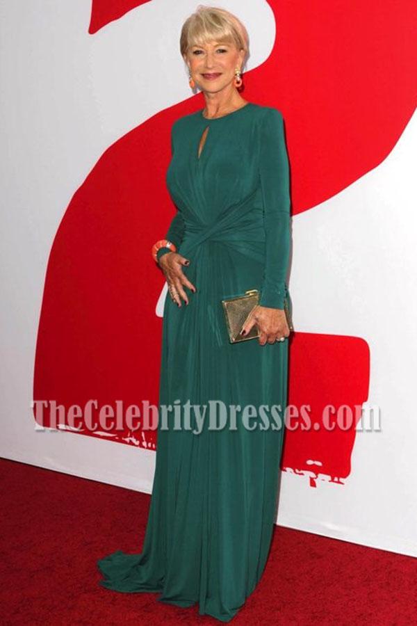 Helen Mirren Green Long Sleeve Formal Dress \'RED 2′ LA Premiere Red ...