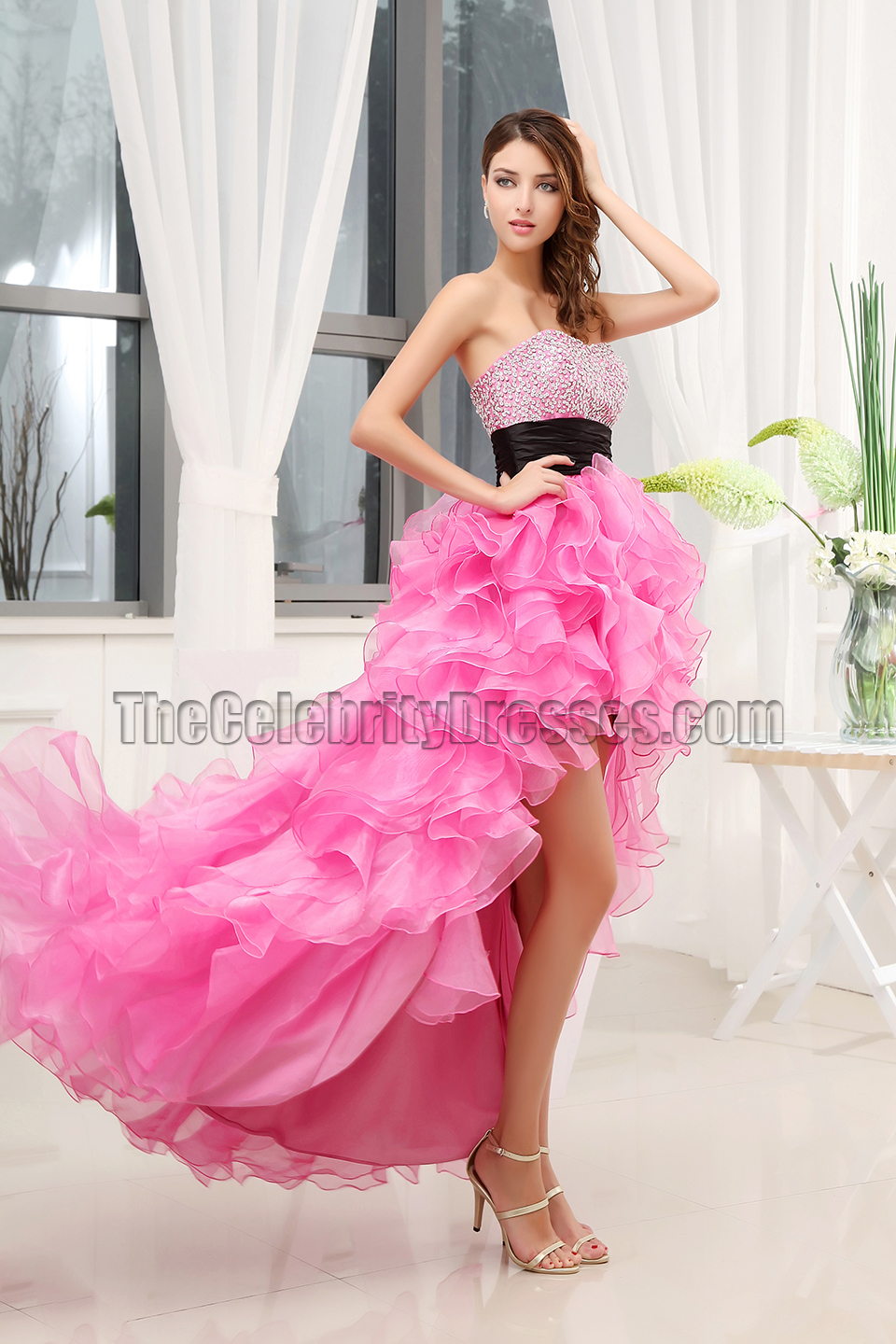 Celebrity Inspired Hi-Low Strapless Formal Dress Prom Gown ...