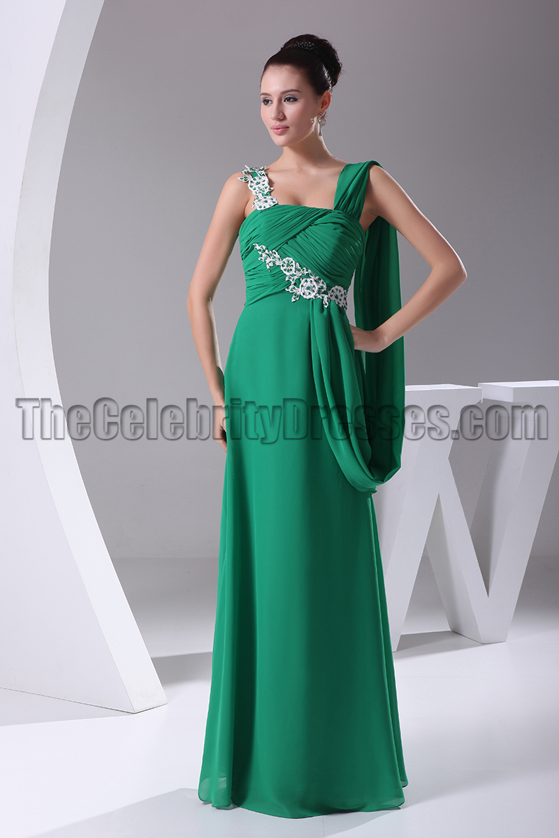 Elegant Hunter Embroidery Prom Gown Formal Dress - TheCelebrityDresses