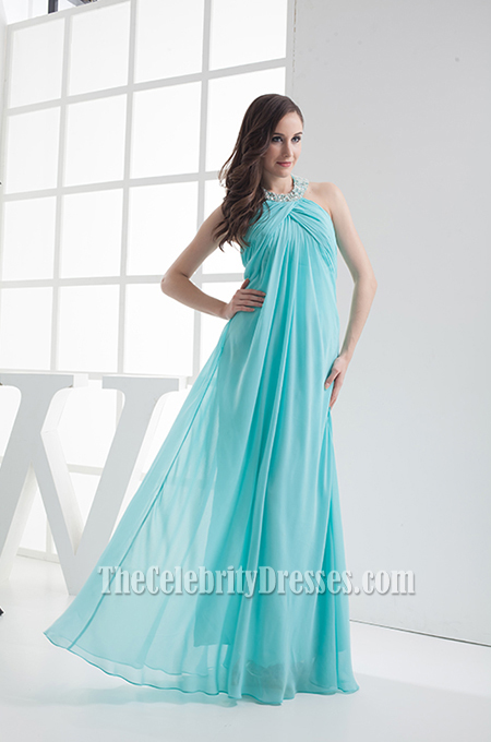 Ice Blue Chiffon Halter Prom Evening Bridesmaid Dresses