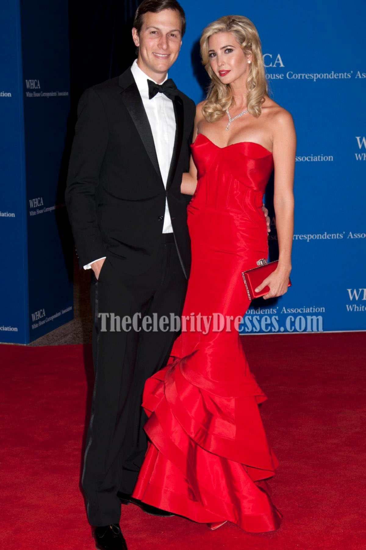 6ad20869827 Ivanka Trump Red Mermaid Formal Dress 2015 White House Correspondents   Association Dinner - TheCelebrityDresses