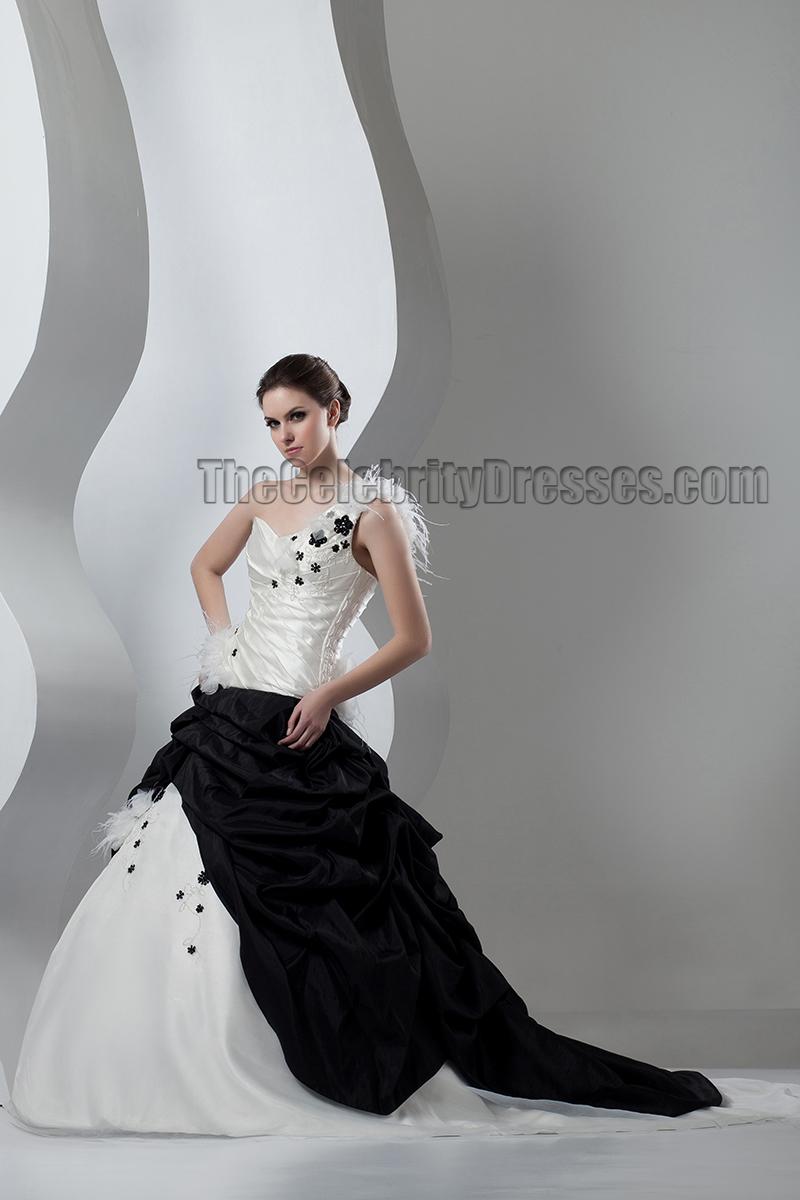 Ivory And Black One Shoulder A-Line Wedding Dresses ...