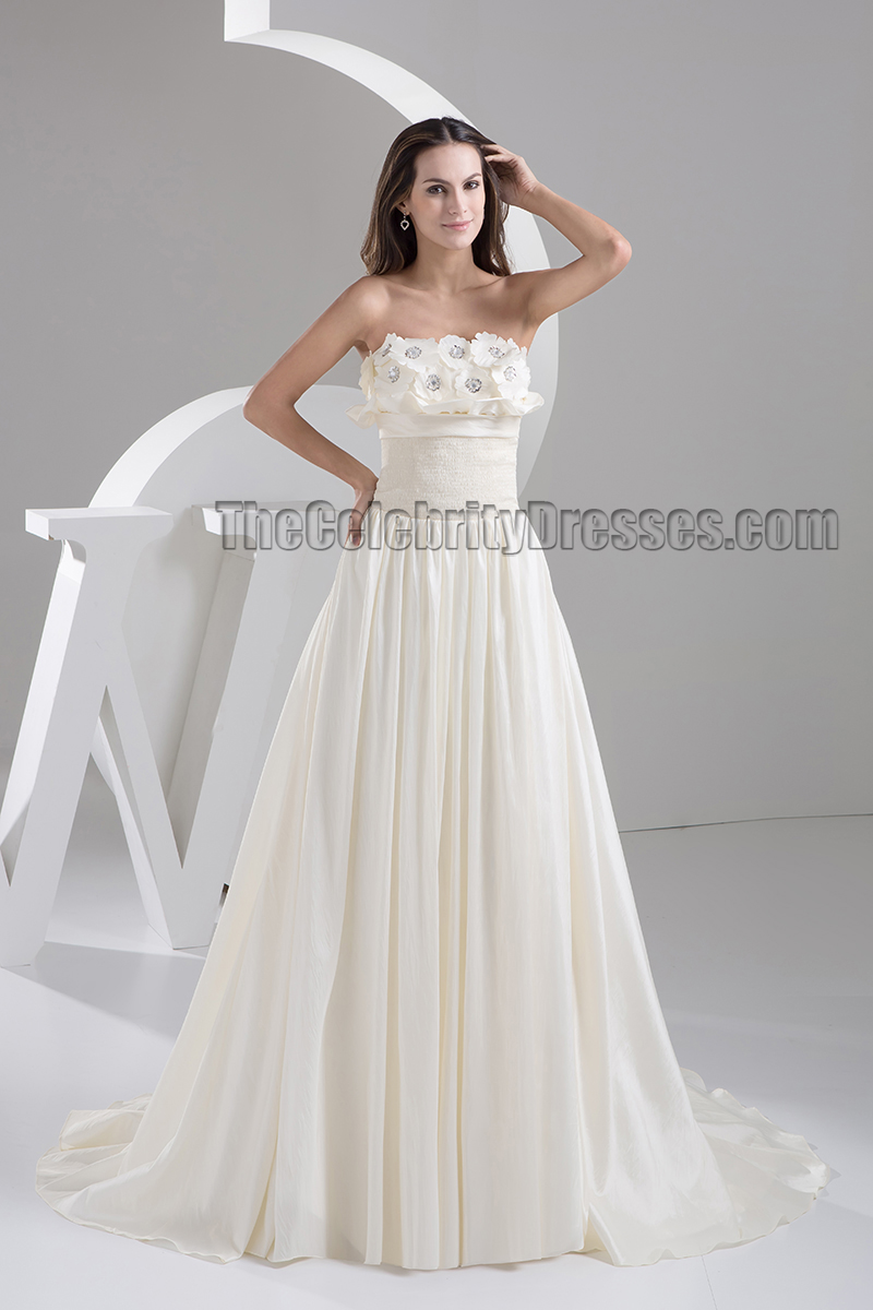 Ivory strapless a line sweep brush train bridal gown for Sweep train wedding dress
