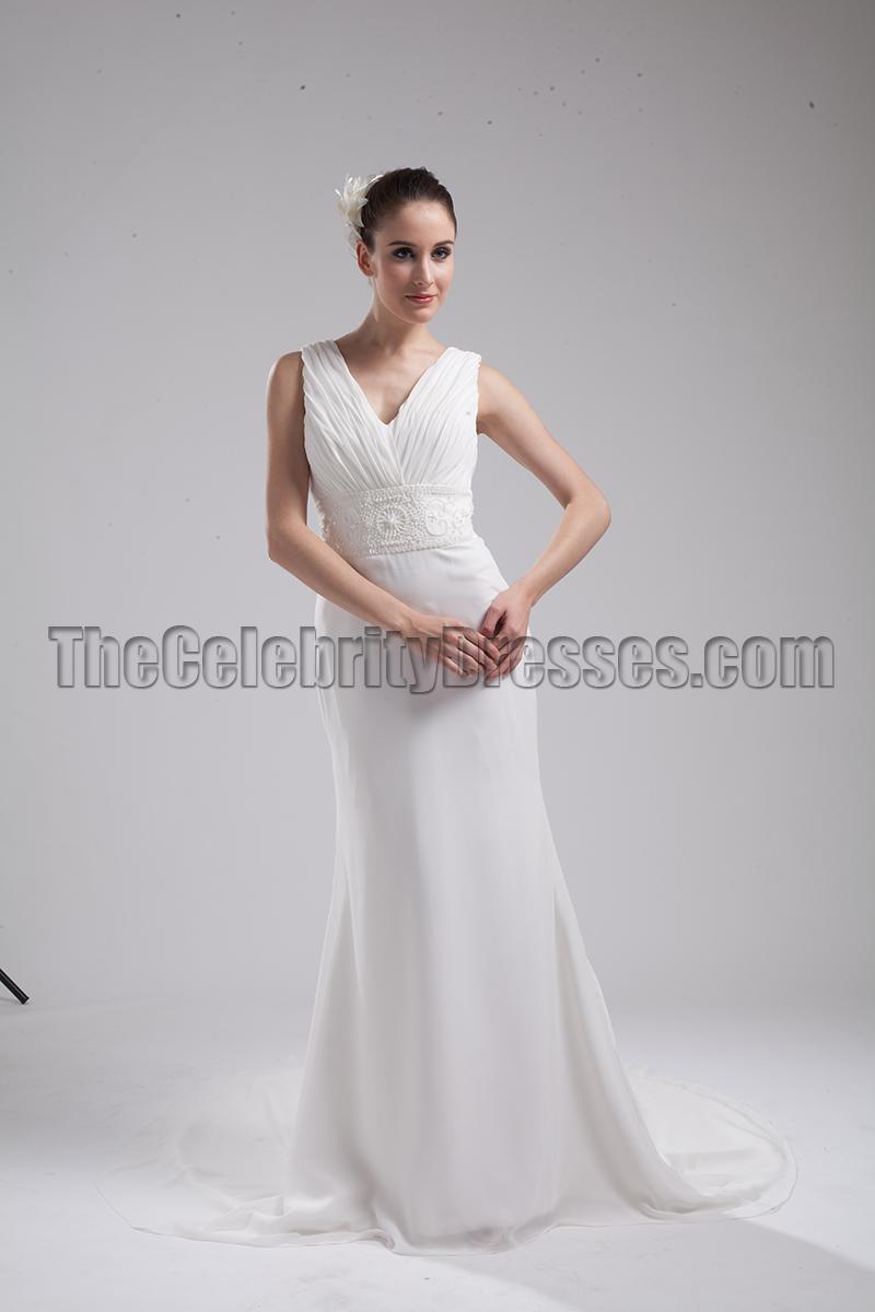 New Style Ivory V Neck Informal Wedding Dress Evening Gown