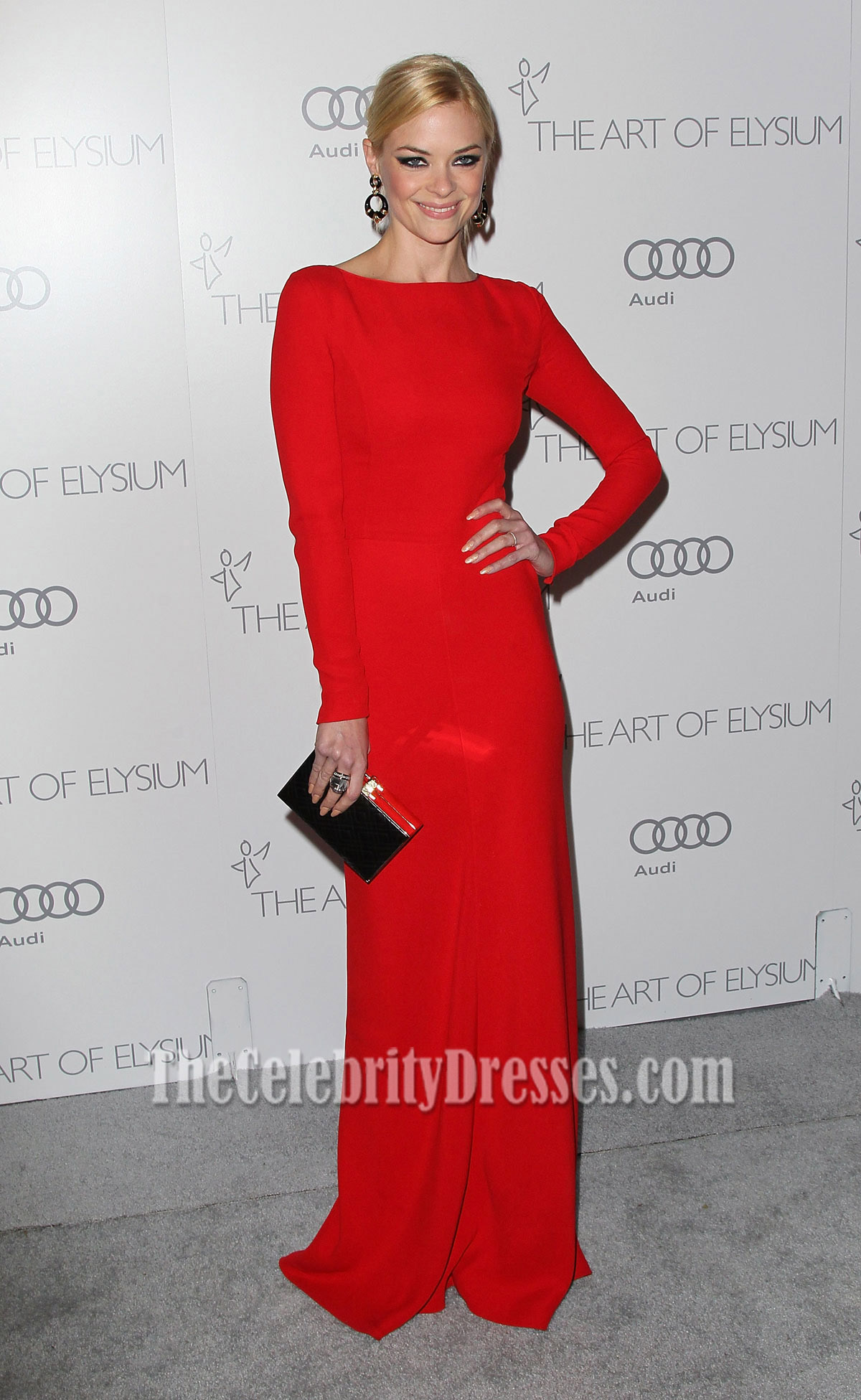 Jaime King Red Long Sleeve Evening Dress art of Elysium gala ...