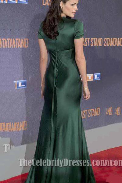 Jaimie Alexander Satin Bias Cut Gown Dark Green Formal Evening Dress Thecelebritydresses