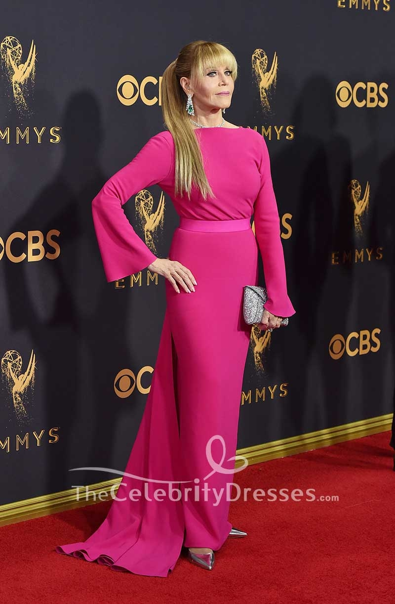 Jane Fonda Fuchsia Evening Prom Dress With Sleeves 2017