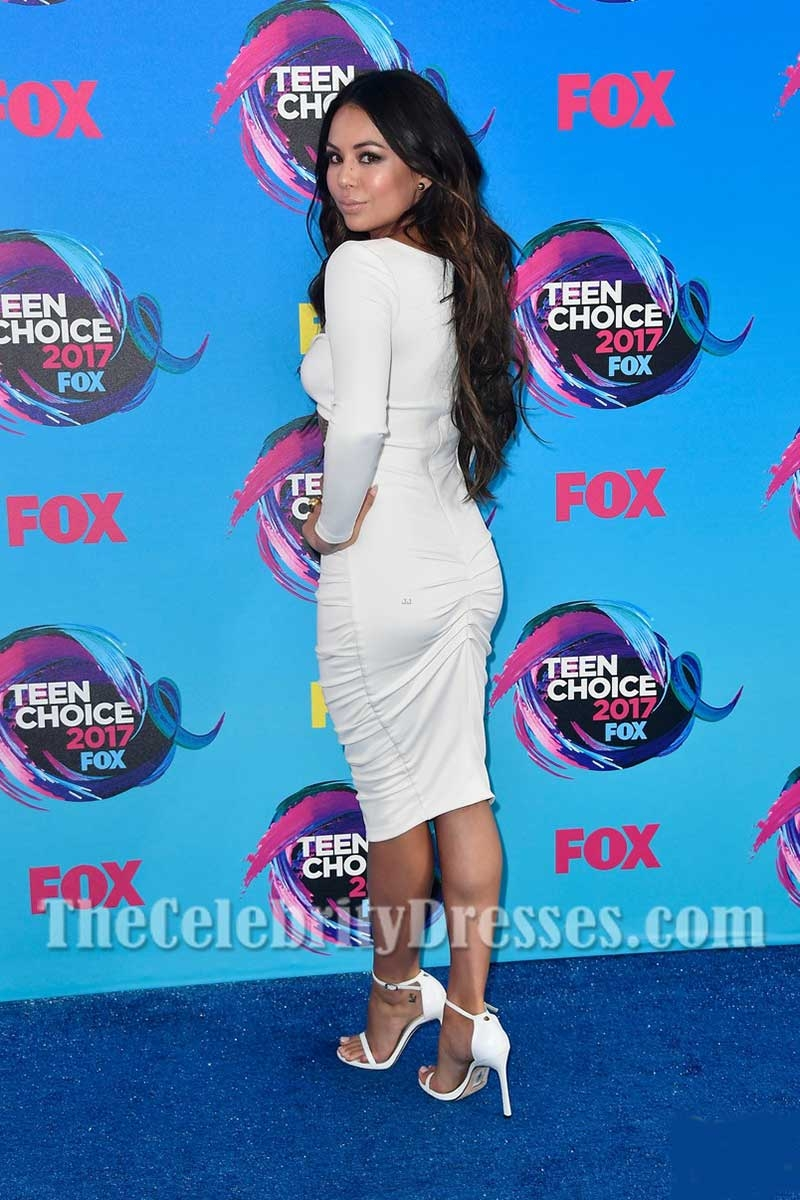 978d8aa9bb5 Janel Parrish White Sexy Cut Out Bodycon Cocktail Dress With Long Sleeves  2017 Teen Choice Awards - TheCelebrityDresses