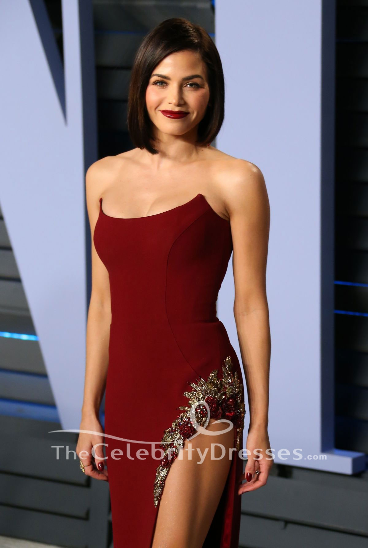 Jenna Dewan Tatum Burgundy Strapless Evening