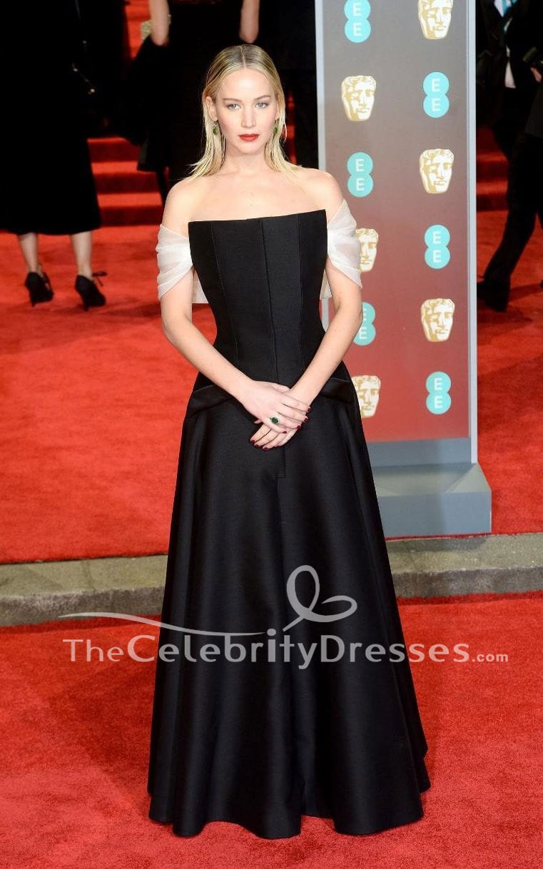 03d29993f20 Jennifer Lawrence Black Off-the-Shoulder Evening Dress 2018 BAFTAs Red  Carpet Gown - TheCelebrityDresses