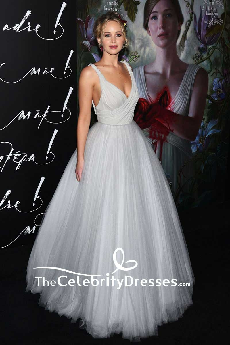 Jennifer Lawrence Backless Tulle Ball Gown \'Mother\' New York ...