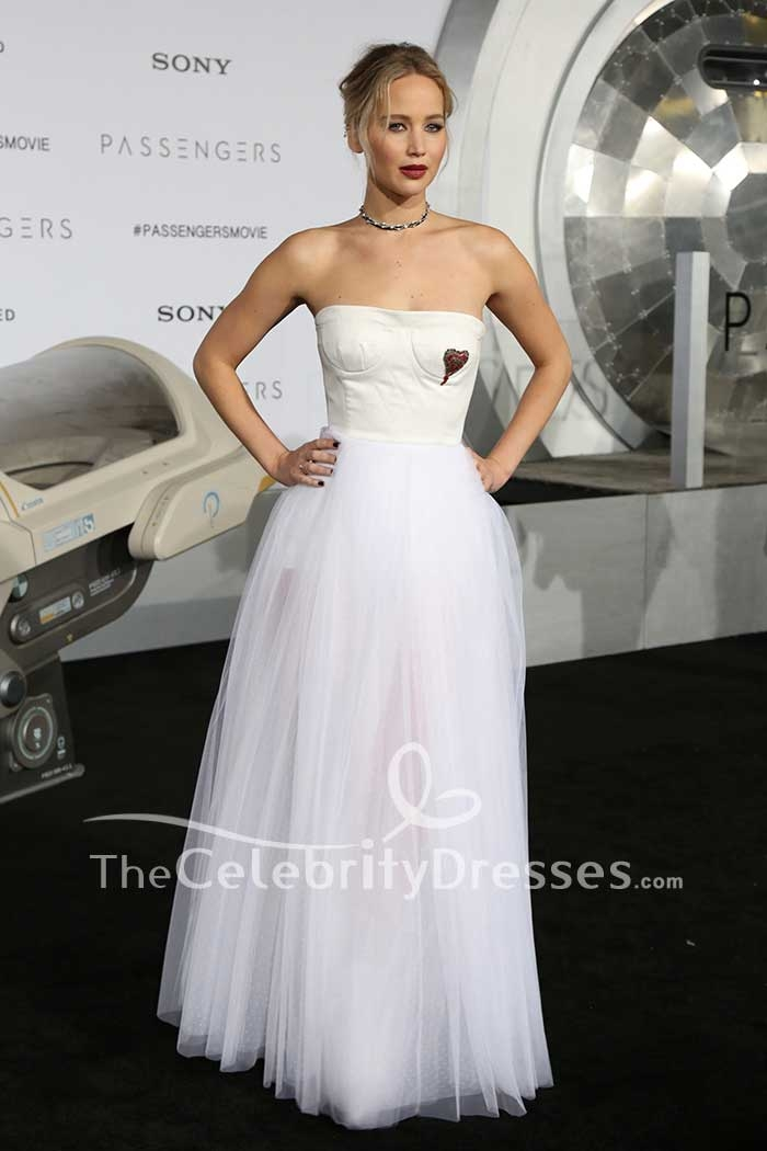 06f81715471 Jennifer Lawrence White And Ivory Strapless Tulle Ball Gown Dress TCD7511