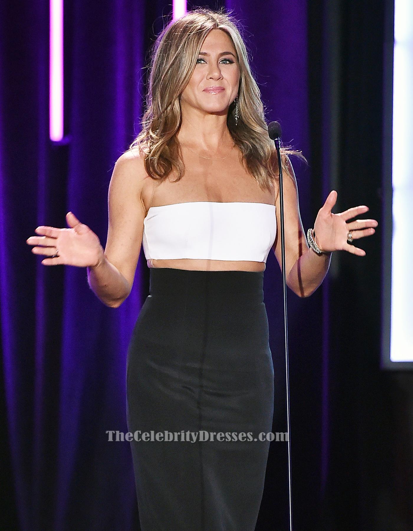 Jennifer Aniston White And Black Evening Dress 29th