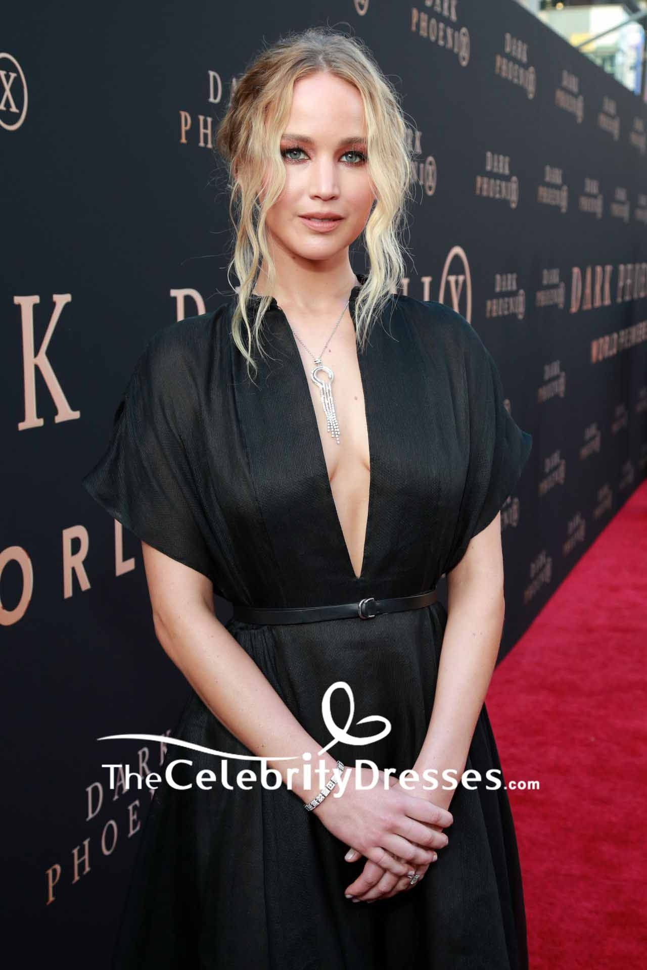 Kate Upton Elegant Black Deep V-neck Formal Dress - Xdressy