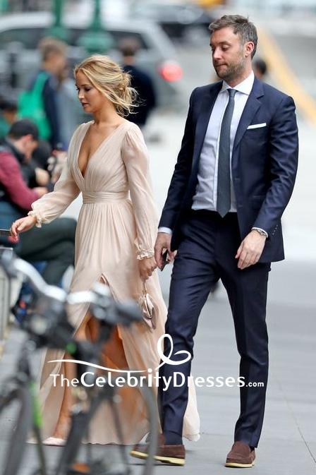 Jennifer Lawrence Nude A-line Engagement Dress - Xdressy