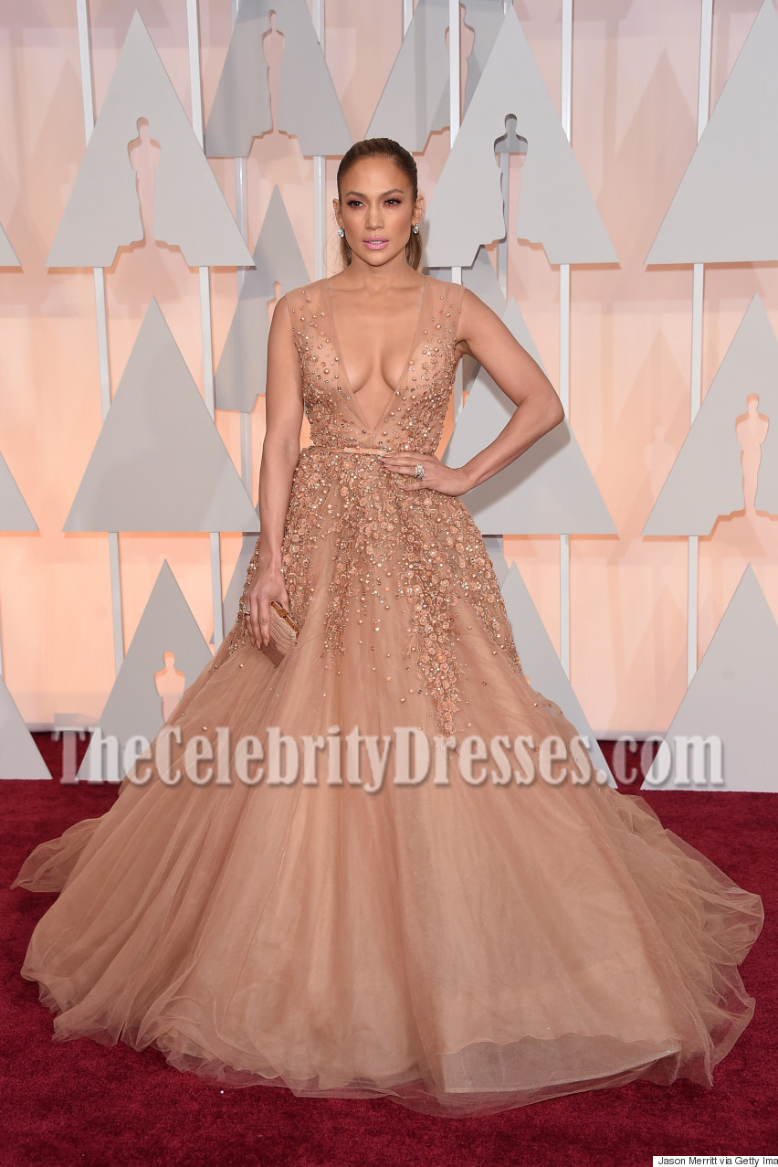 Jennifer Lopez Deep V Neck Beading Ball Gown Oscars 2015