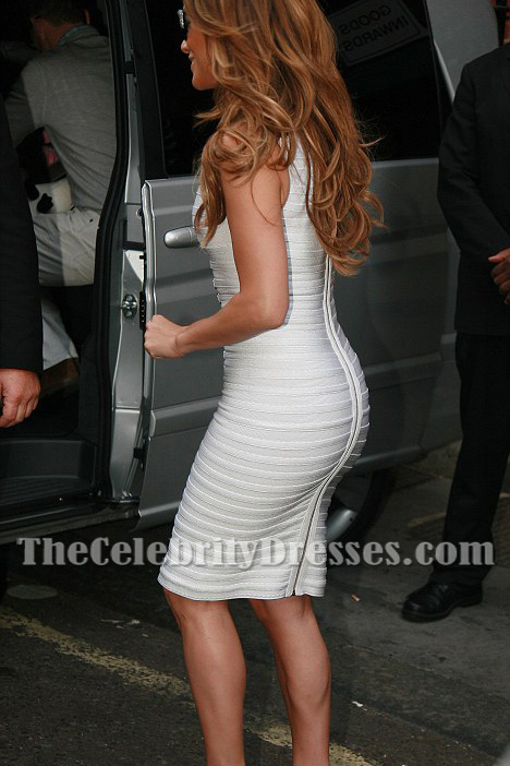 Jennifer Lopez White Sexy Heavy Metal Bandage Cocktail Dress - TheCelebrityDresses