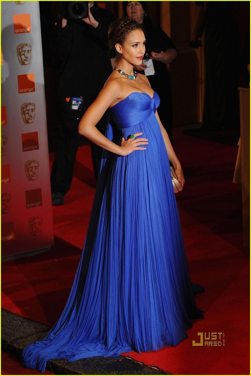 Jessica Alba Blue Formal Gown Prom Evening Dress 2011 BAFTA Awards ...