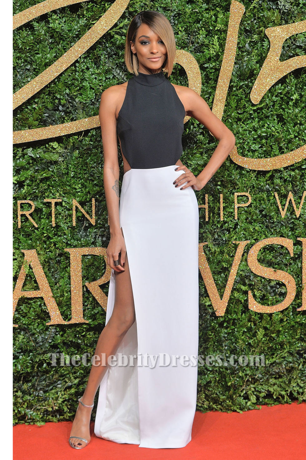 Jourdan Dunn Sexy Black And White Evening Dress 2015