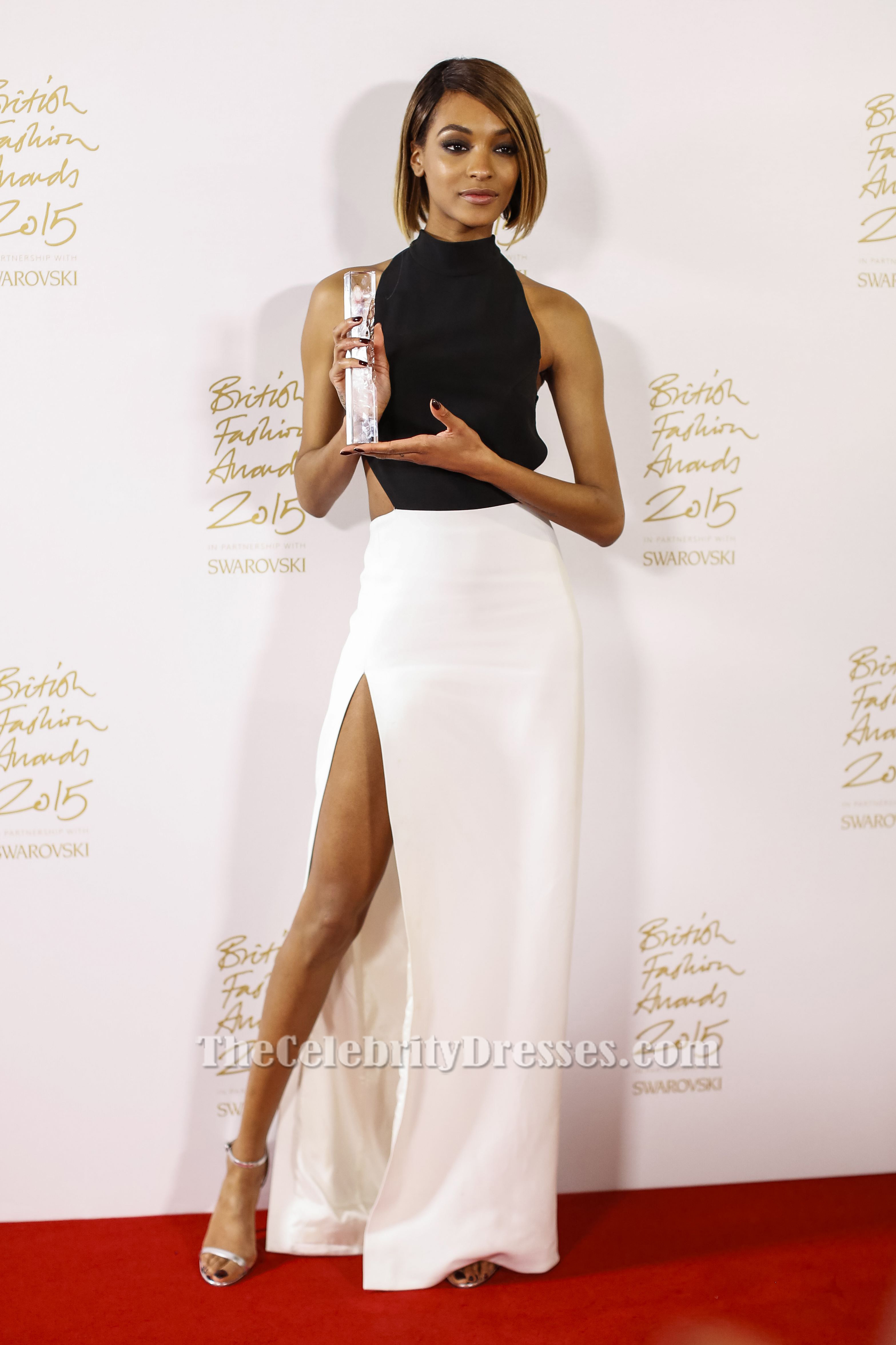 Jourdan Dunn Sexy Black And White Evening Dress 2015 British Fashion Awards Thecelebritydresses