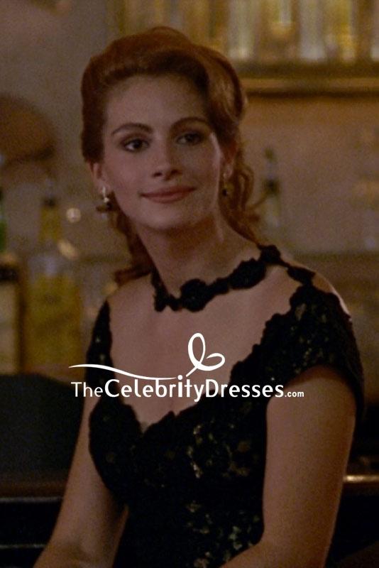 97dbcee14c Julia Roberts Black Lace Cocktail Dress In Movie Pretty Women -  TheCelebrityDresses