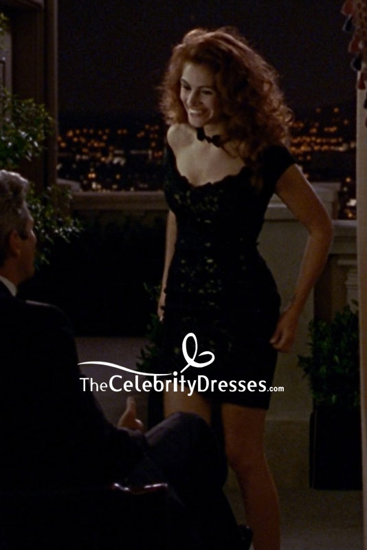 Julia Roberts Black Lace Cocktail Dress In Movie Pretty