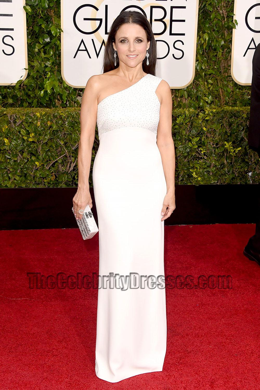 Julia Louis-Dreyfus 2015 Golden Globe Awards White One-shoulder ...
