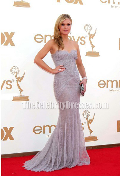 Julia Stiles Lace Strapless Prom Dress Evening Gown Emmy Awards 2011 ...