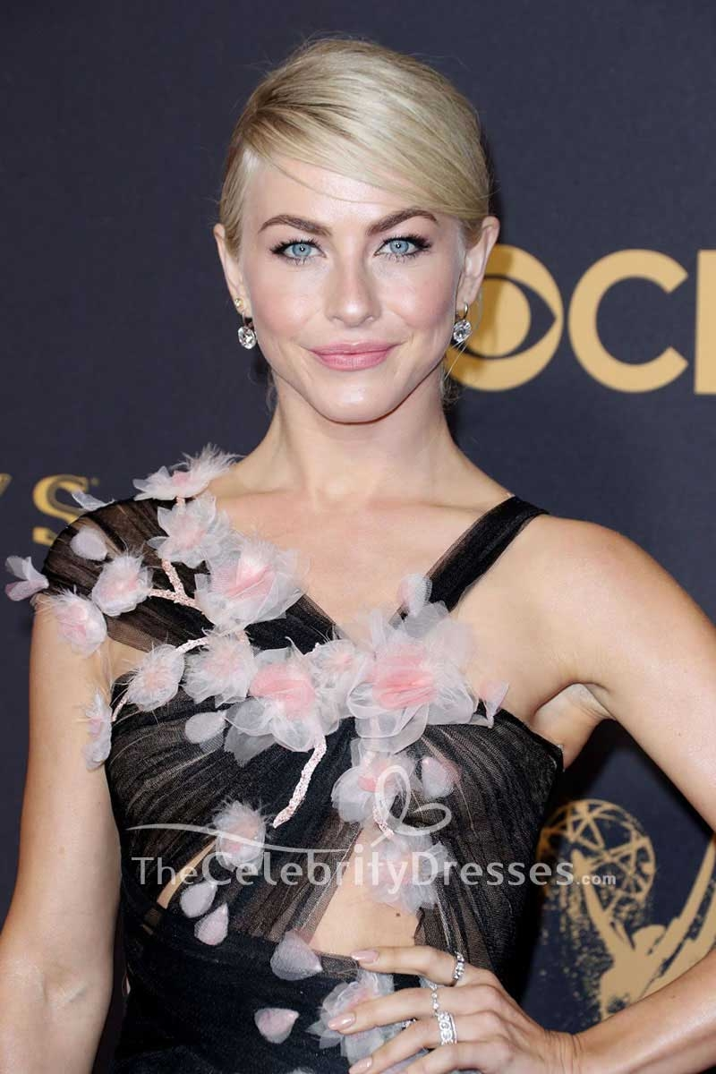 Julianne Hough Black Cut Out Tulle Floral Evening Dress 69th Primetime Emmy Awards Red Carpet Gown Tcd7538