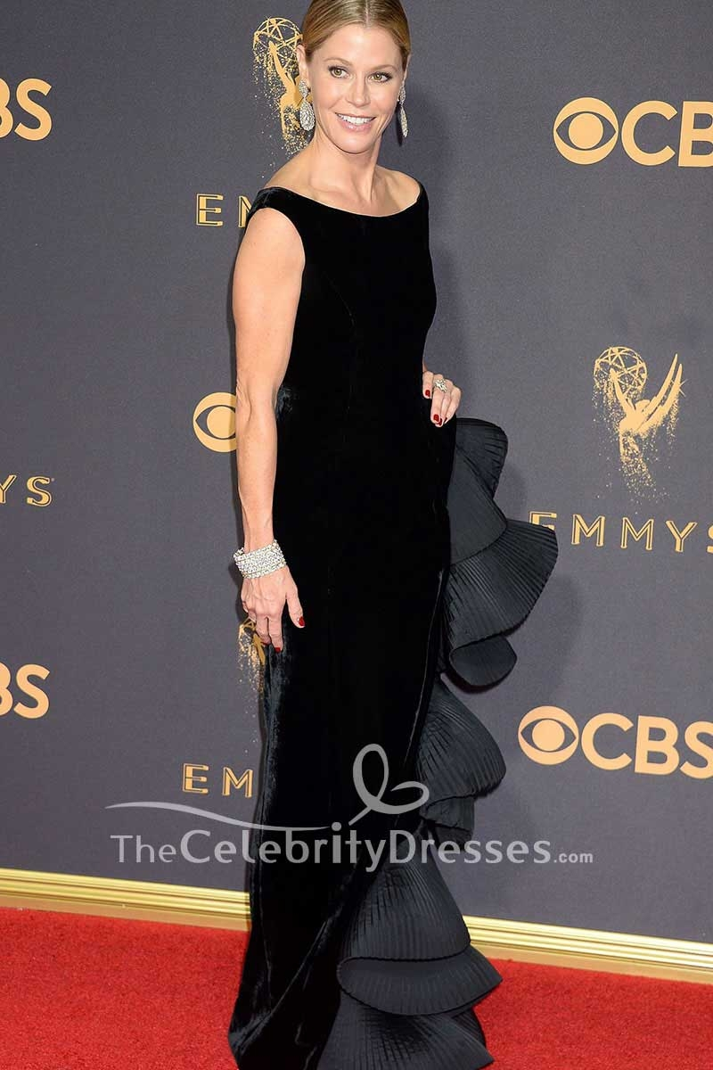 30fea7e235 Julie Bowen Black Velvet Ruffled Evening Dress 2017 Emmy Awards Red Carpet  Gown - TheCelebrityDresses
