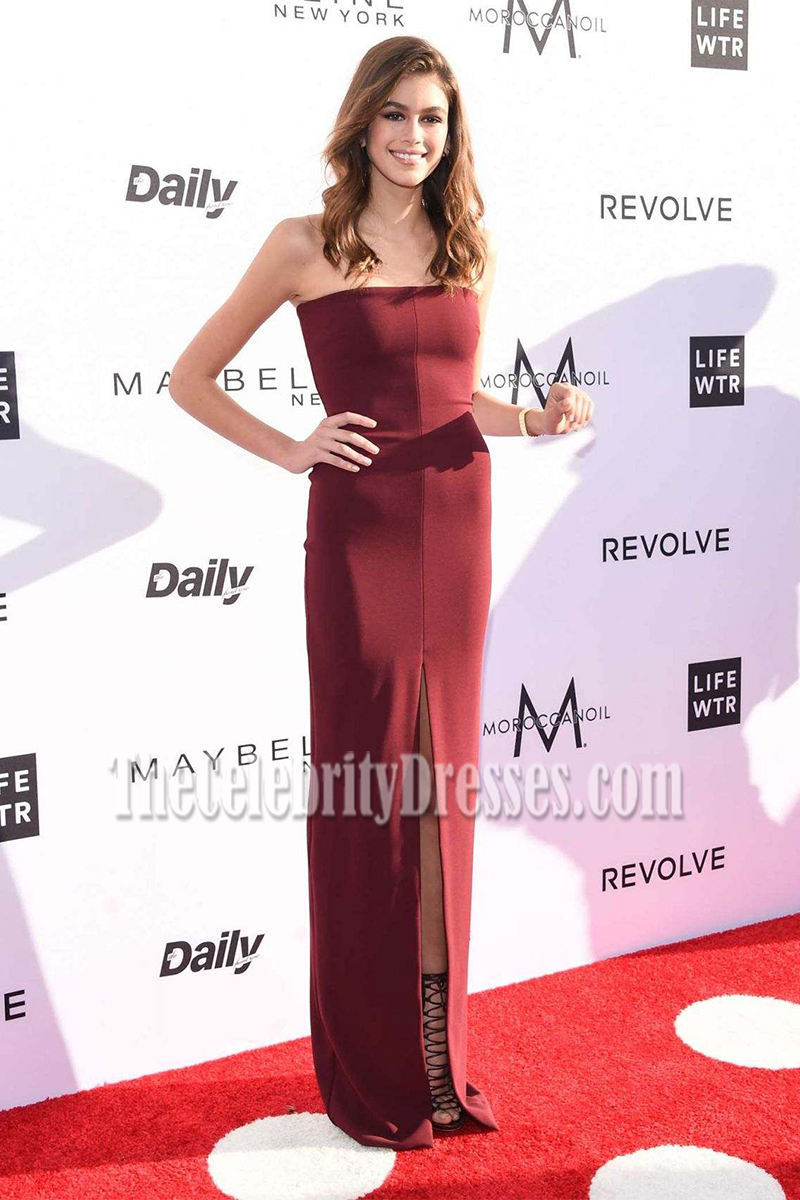 Kaia Gerber Burgundy Strapless High Slit Column Prom Gown the ...