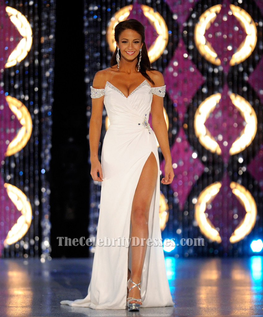 Miss New York Kaitlin Monte White Evening Gown 2012 Miss America ...