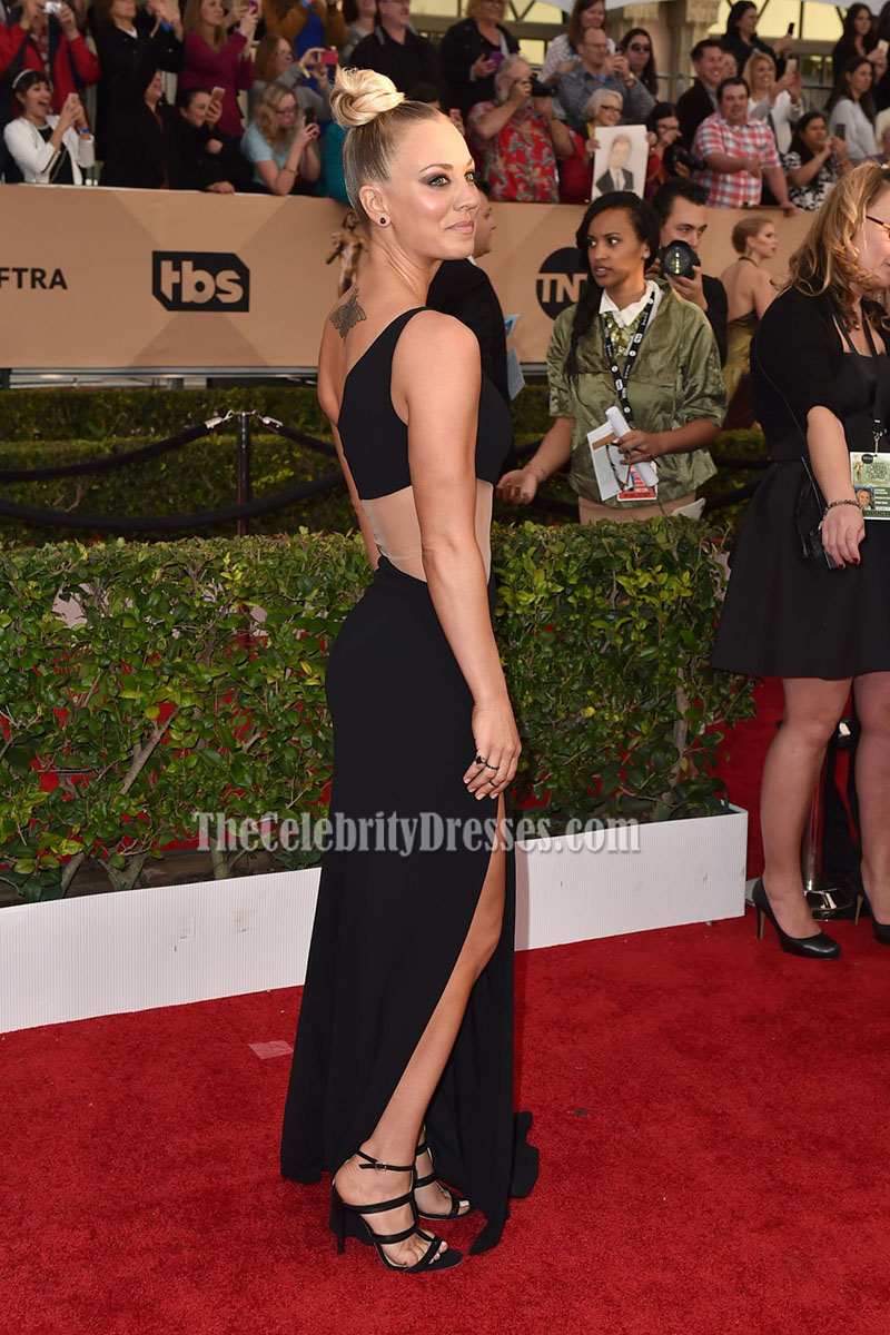 Kaley Cuoco Black One Shoulder Evening Formal Dress 22nd Screen Actors Guild Awards ...