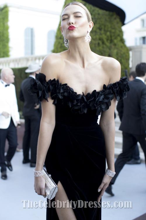 de4f743af85 Karlie Kloss Black Off-the-Shoulder Formal Dress amfAR 2016 Celebrity  Dresses - TheCelebrityDresses