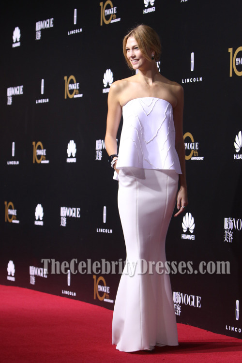 Karlie Kloss White Strapless Mermaid Formal Dress Vogue