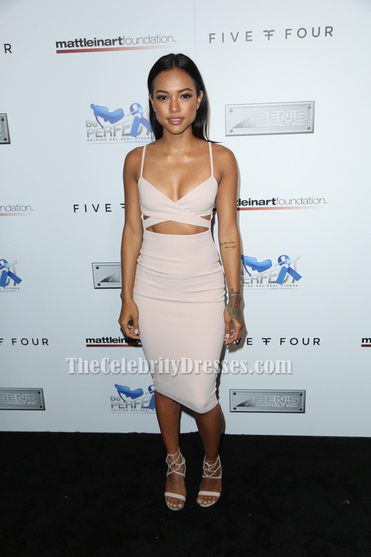 Karrueche Tran Cut Out Party Dress 9th Annual Celebrity Bowl for ...