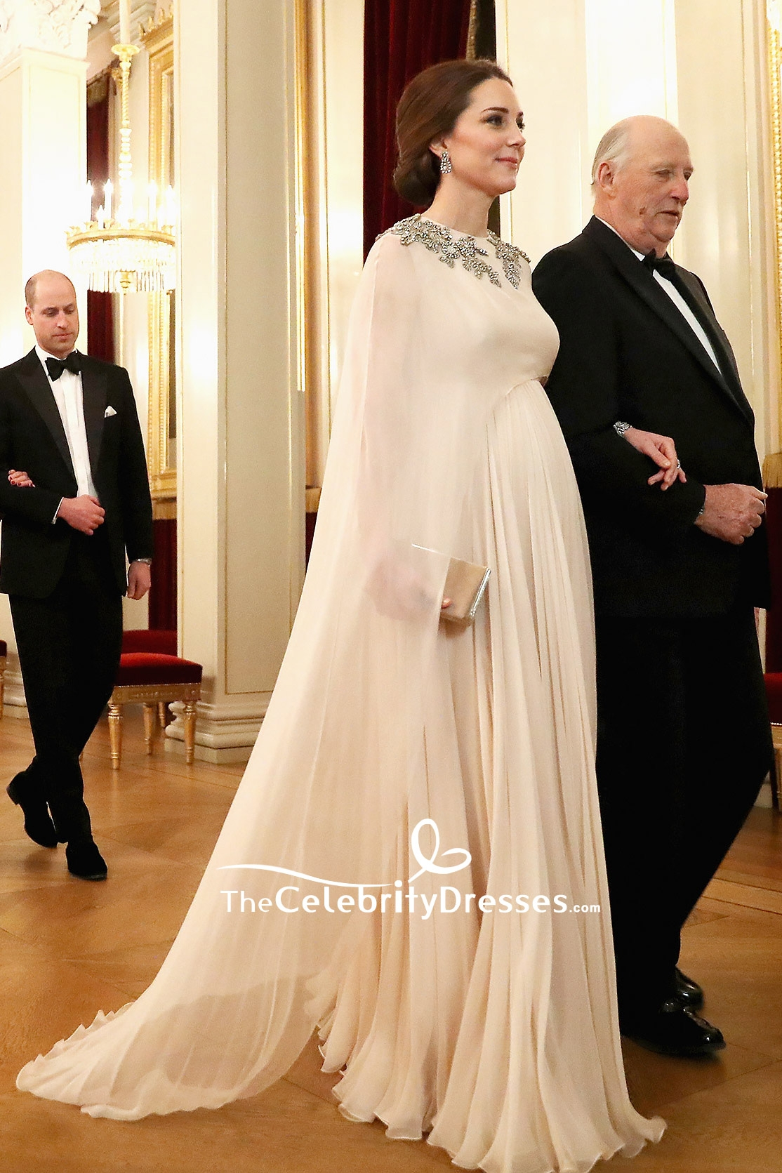 32e9f0c2590 Kate Middleton Chiffon Beaded Caped Princess Gown Dinner At Royal Palace To  Norway - TheCelebrityDresses