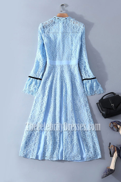 Kate Middleton Light Blue Lace Short Dress With Long Sleeves Tcd7795