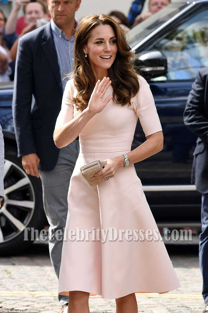 Kate Middleton Pink Short Sleeves Fit And Flare Party Dress Visiting ...